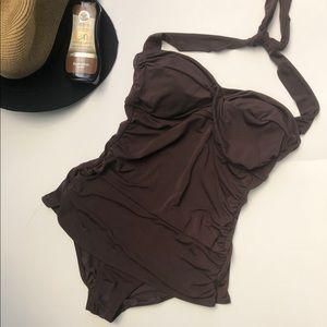 Sz, 12 Jantzen Chocolate Brown One-Piece Swim Suit